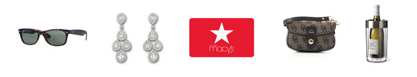 5 Logos: Skull Candy Headphones; Macy's, Dooney and Bourke Flap Wristlet; Swarovski jewelry; Barnes & Noble